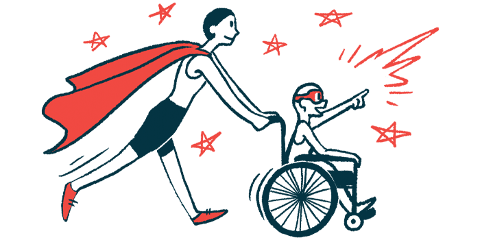 rare disease clinical trial participants   Porphyria News   Illustration of woman in cape pushing child in wheelchair